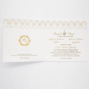 Invitatie nunta 10x20 pe carton sidefat crem sau argintiu BINC104