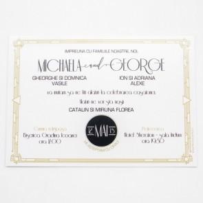 Invitatie nunta 13x18 pe carton sidefat crem sau argintiu BINC102