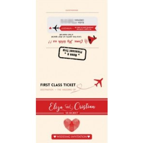 Invitatie nunta BIN106 - bilet de avion