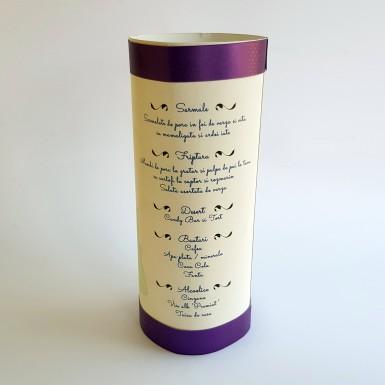Meniu A4 tip cilindru din carton alb - BM500